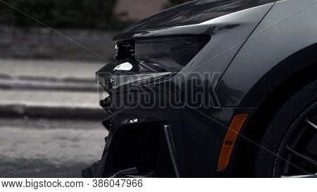 Tomsk, Russia - June 2, 2020: Chevrolet Camaro Zl1 The Front Of The Car Is Large