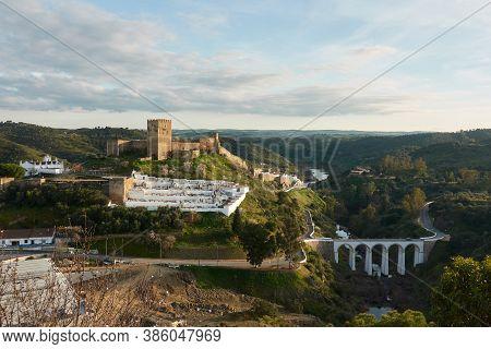 Landscape Of Alentejo Near Mertola With Guadiana River, In Portugal