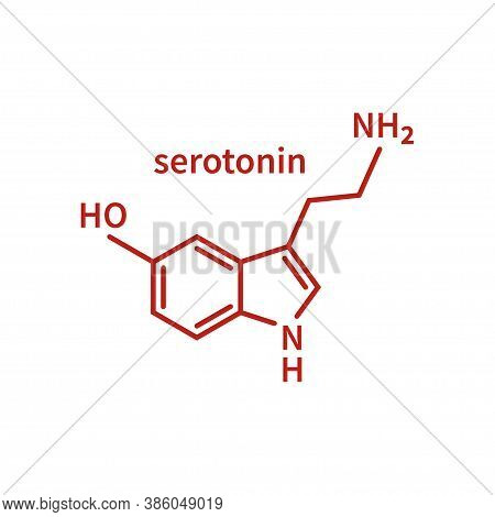 Skeletal Formula Of Serotonin. Structural Chemical Formula Of Serotonin Molecule Isolated On White B