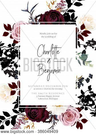 Burgundy Red And Dusty Pink Flowers Glamour Vector Design Frame. Dusty Rose, Ivory Peony, Burgundy D