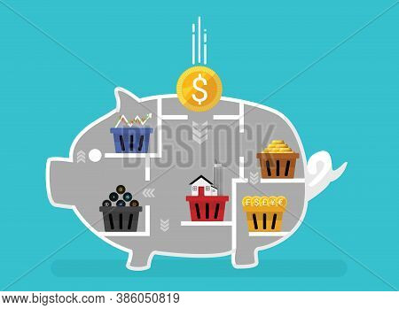 Business Financial Concept Of Diversification. Do Not Put All Savings Money In One Basket. Allocatin