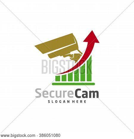 Cctv Camera With Stats Logo Design Vector Template, Concept Symbol, Icon