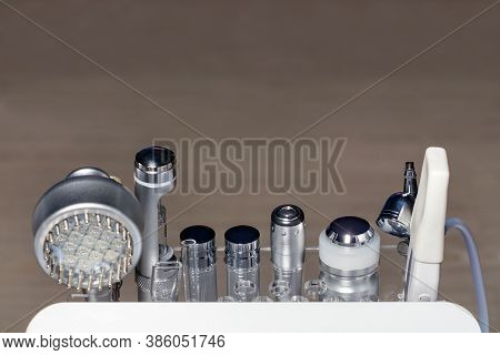 Various Medical Cosmetology Instruments, Liposuction And Massage Machines Used For Human Body Correc