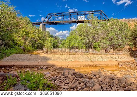 View From Below An Old Railroad Trestle Bridge Spanning Bear Canyon Near Perkinsville Arizona In The