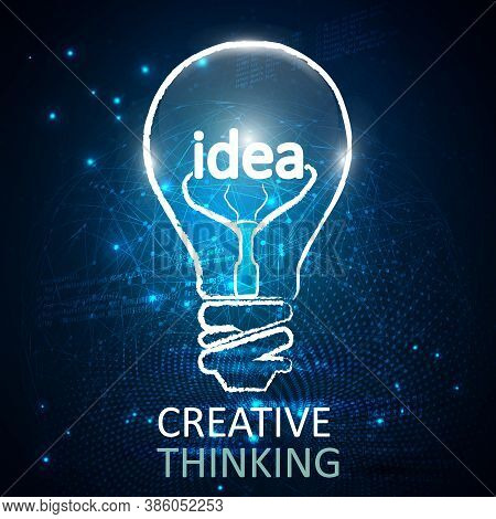 Abstract Futuristic Lightbulb Idea Hologram.future Concept.vector And Illustration. Stock Vector For