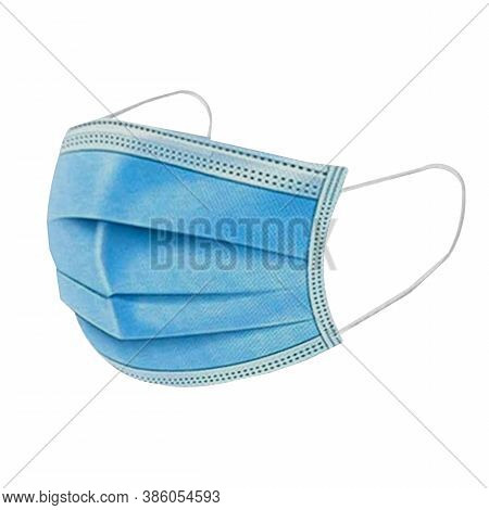 Medical Face Mask Isolated On White Background With Clipping Path Around The Face Mask And The Ear R