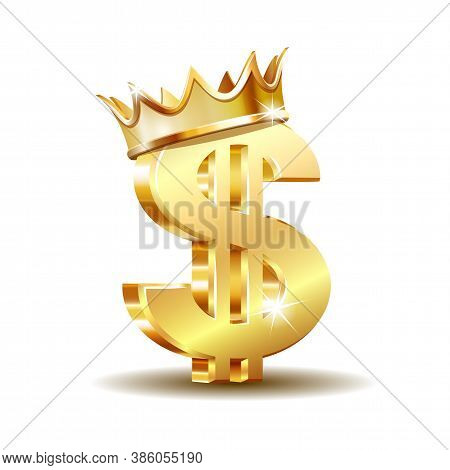 Golden Dollar Symbol With Two Vertical Lines With Golden Crown