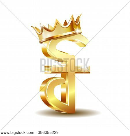 Cambodian Riel Currency Symbol With Golden Crown, Golden Money Sign