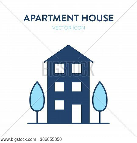 Apartment House Icon. Vector Illustration With An Exterior View Of Multi-storey Residential Building