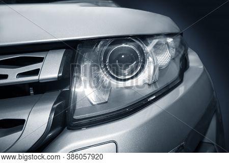 Headlight Of  Modern Prestigious Car Closeup Photo