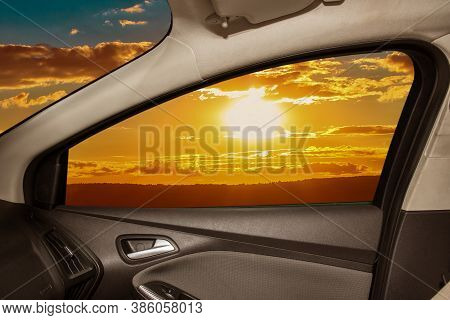 Beautiful Sunset From The Car Window Landscape