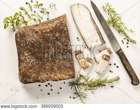 The Tuscan Lardo Di Colonnata Is A Type Of Salumi Made By Curing Strips Of Fatback With Rosemary And