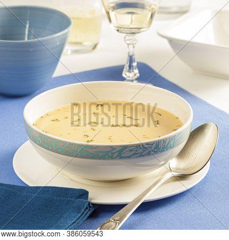 Greek Egg And Lemon Soup Called Avgolemono
