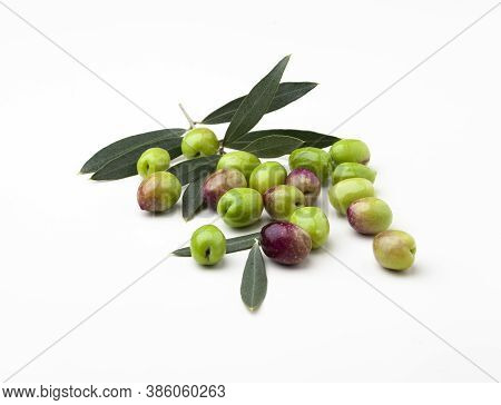 Freshly Picked Olives With Leaves Isolated On White