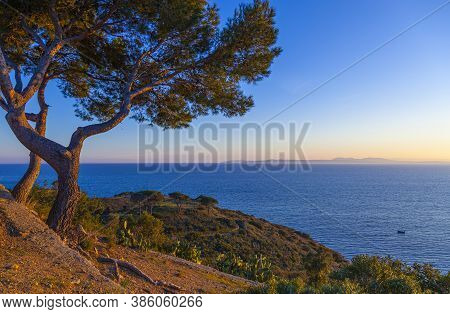 View Of The Costa Brava Coast In Spain, With The Medas Islands On The Horizon.