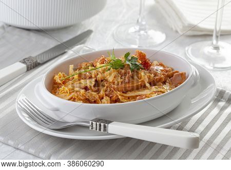 Transylvanian Goulash, A Variant Of The Traditional Hungarian Goulash Is Made With Pork, Smoked Saus