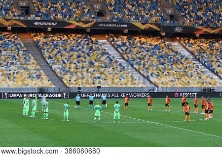 Kyiv, Ukraine - August 5, 2020: Minute Of Silence In Memory Of Covid-19 Victims Before The Uefa Euro