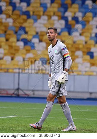 Kyiv, Ukraine - August 5, 2020: Goalkeeper Koen Casteels Of Vfl Wolfsburg In Action During The Uefa