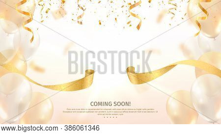 Grand Opening Vector Banner. Celebration Of Open Coming Soon Light Background With Gold Ribbon And C