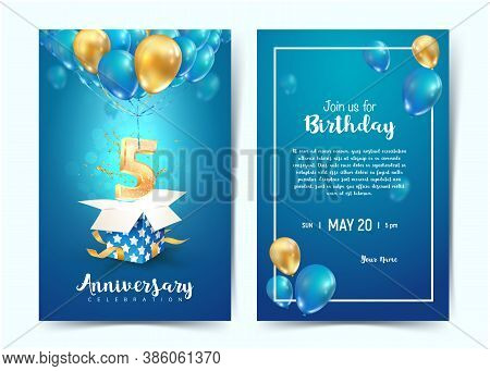 Celebration Of 5 Th Years Birthday Vector Invitation Cards. Fifth Years Anniversary Celebration. Pri