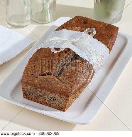 Moist And Delicious Banana Bread Made With Ripe Bananas, Nuts, Butter, Sugar, Egg, Vanilla, Baking S