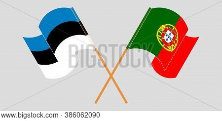 Crossed And Waving Flags Of Estonia And Portugal. Vector Illustration
