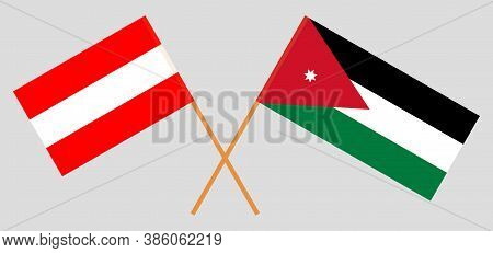Crossed Flags Of Jordan And Austria. Official Colors. Correct Proportion. Vector Illustration