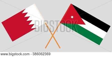 Crossed Flags Of Jordan And Bahrain. Official Colors. Correct Proportion. Vector Illustration