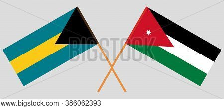 Crossed Flags Of Jordan And Bahamas. Official Colors. Correct Proportion. Vector Illustration
