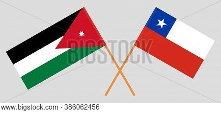 Crossed Flags Of Jordan And Chile. Official Colors. Correct Proportion. Vector Illustration