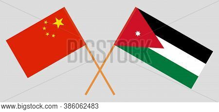 Crossed Flags Of Jordan And China. Official Colors. Correct Proportion. Vector Illustration