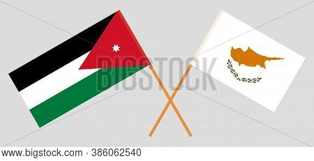 Crossed Flags Of Jordan And Cyprus. Official Colors. Correct Proportion. Vector Illustration