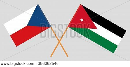 Crossed Flags Of Jordan And Czech Republic. Official Colors. Correct Proportion. Vector Illustration