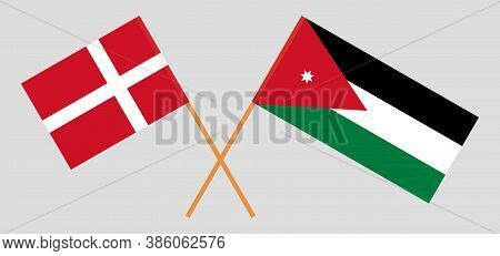 Crossed Flags Of Jordan And Denmark. Official Colors. Correct Proportion. Vector Illustration
