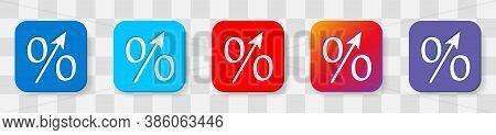 Percent Up Arrow Icon, Speedy Economic Growth Concept. 5 Colors Option Icon. Vector Illustration Fla