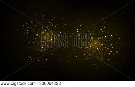 Festive Golden Luminous Background With Colorful Lights Bokeh. Sparkling Magical Particles. Gold Chr