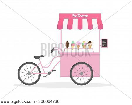 Ice Cream Bicycle, Ice Cream Cart, Street Food. Vector Illustration.