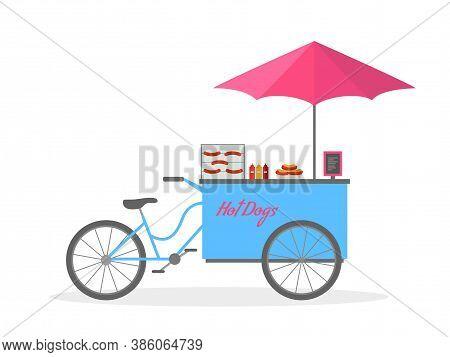 Hot Dog Bicycle, Hot Dog Cart, Street Food. Vector Illustration.