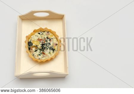 Quiche Lorraine Served, Ready To Eat, Isolated On White Background.