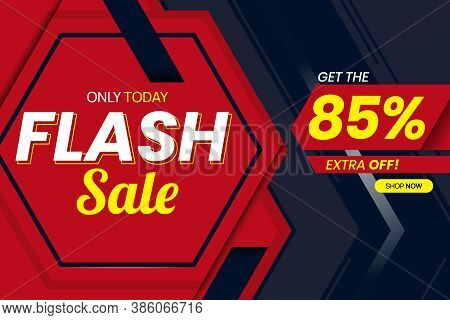 Vector Graphic Of Modern Flash Sale 85 Percent Banner Template. Perfect For Retail, Brochure, Banner