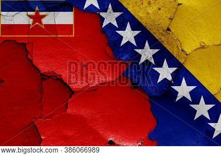 Historical Flag Of Socialist Republic Of Bosnia And Herzegovina And Today Bosnia And Herzegovina Fla