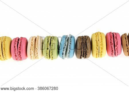 Colorful Macarons Isolated On The White Background
