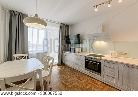 Russia, Moscow- April 10, 2020: Interior Room Apartment Modern Bright Cozy Atmosphere. General Clean