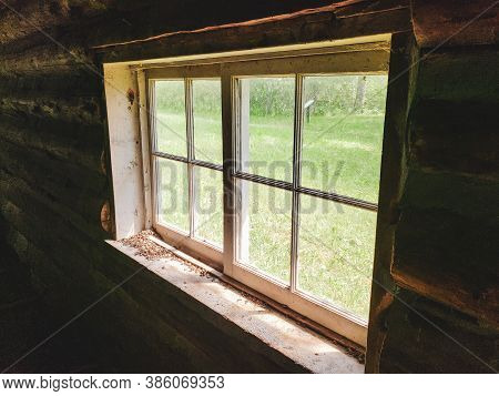 View Through The Window From Inside The Rager Cabin On The Baldy Mountain Hiking Trail In Duck Mount