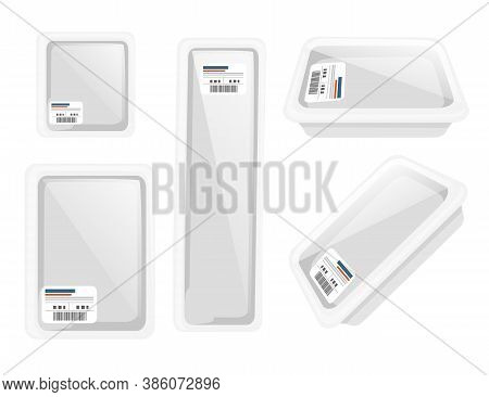 Set Of Vacuum Sealed Packaging With Styrofoam And Polyethylene Packaging For Groceries Store Or Mark