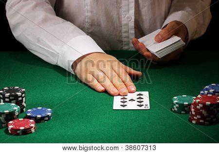 Poker setting on green table