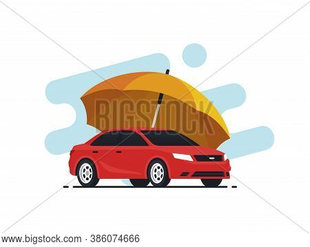 Car Insurance Concept. Umbrella That Protects Automobile. Insurance Policy. Vector Illustration In F