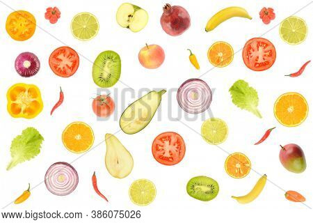 Delicious pattern of whole and cut vegetables and fruits isolated on white background.