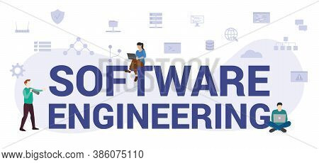 Software Engineering Concept With Modern Big Text Or Word And People With Icon Related Modern Flat S