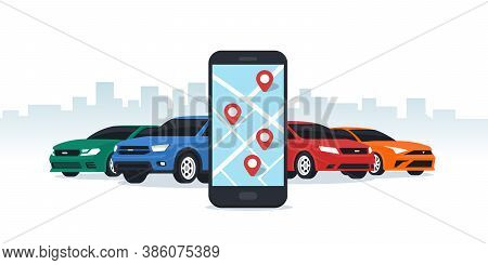 Car Sharing And Rent Service. Online Ordering For Smartphone. Mobile App Ordering Automobile Vehicle